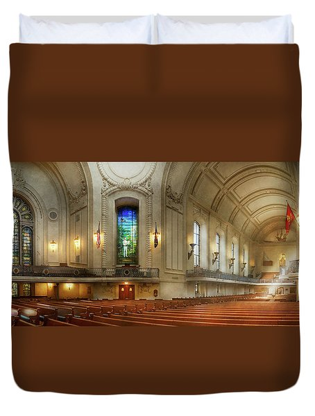 Duvet Cover featuring the photograph City - Naval Academy - God Is My Leader by Mike Savad