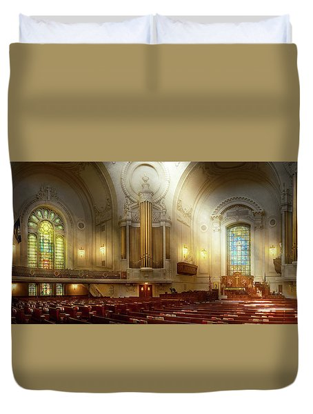 Duvet Cover featuring the photograph City - Naval Academy - The Chapel by Mike Savad