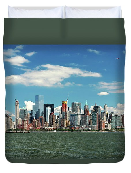 Duvet Cover featuring the photograph City - New York Ny - The New York Skyline by Mike Savad