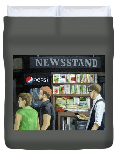 Duvet Cover featuring the painting City Newsstand - People On The Street Painting by Linda Apple