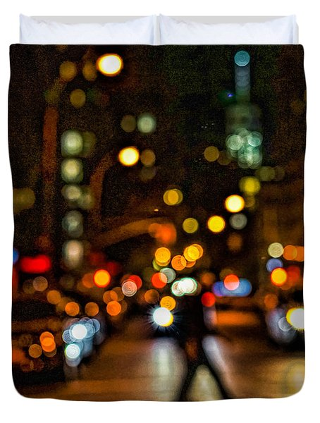 City Nights, City Lights Duvet Cover by Jeffrey Friedkin