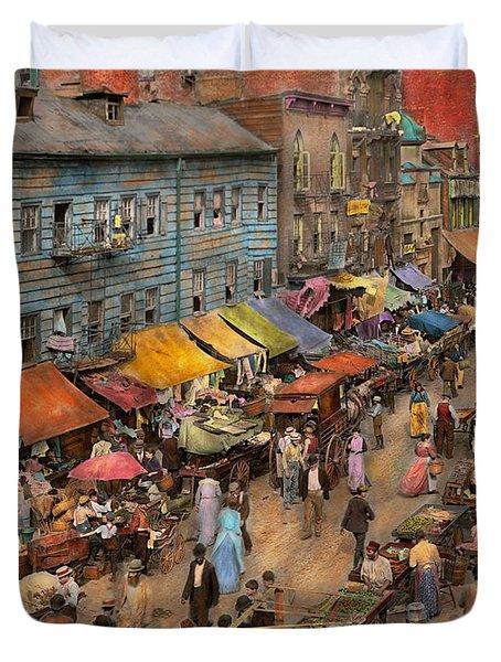 City - Ny - Jewish Market On The East Side 1890 Duvet Cover