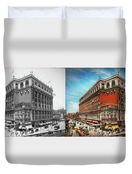 Duvet Cover featuring the photograph City - Ny New York - The Nation's Largest Dept Store 1908 - Side by Mike Savad