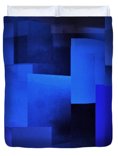 Night In The City Of Blues Duvet Cover