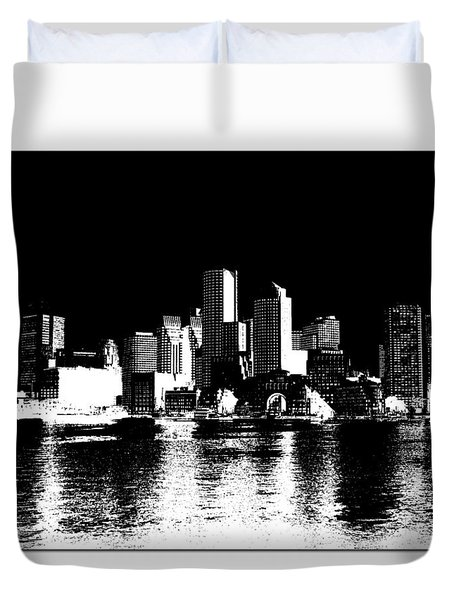 City Of Boston Skyline   Duvet Cover