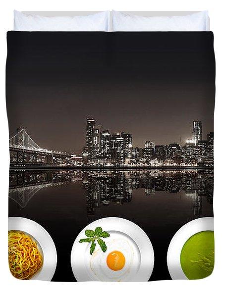 City Of Cultural Cuisines Duvet Cover
