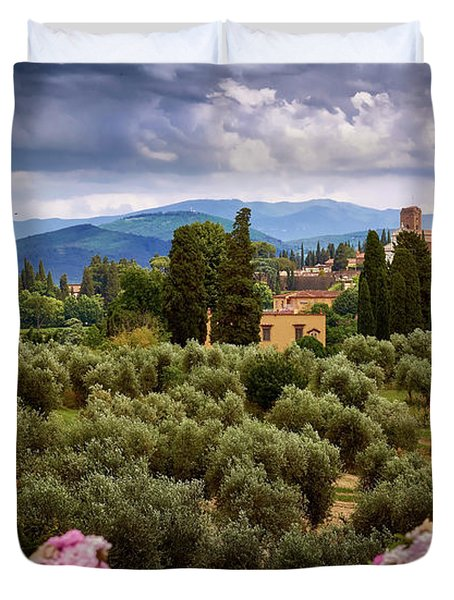 Tuscan Landscape With Roses And Mountains In Florence, Italy Duvet Cover