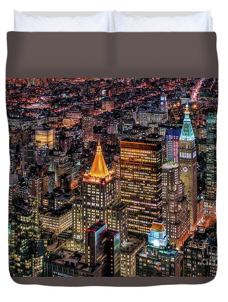 City Of Lights - Nyc Duvet Cover by Rafael Quirindongo