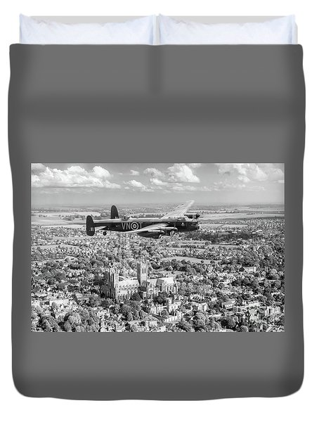 Duvet Cover featuring the photograph City Of Lincoln Vn-t Over The City Of Lincoln Bw Version by Gary Eason