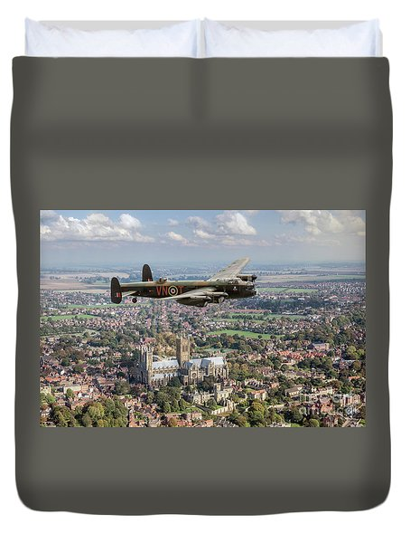 Duvet Cover featuring the photograph City Of Lincoln Vn-t Over The City Of Lincoln by Gary Eason