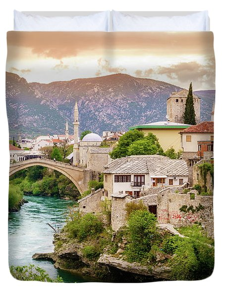 City Of Mostar And Neretva River Duvet Cover