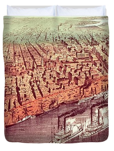 City Of New Orleans Duvet Cover by Currier and Ives