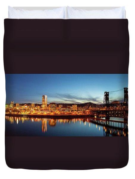 City Of Portland Skyline Blue Hour Panorama Duvet Cover by David Gn