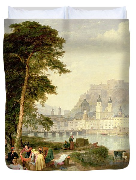 City Of Salzburg Duvet Cover by Philip Hutchins Rogers