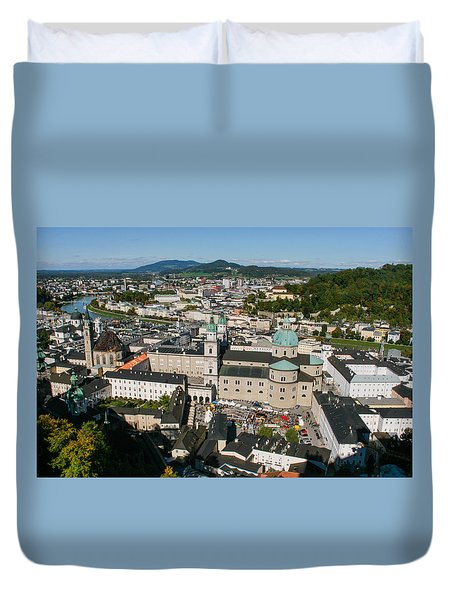 Duvet Cover featuring the photograph City Of Salzburg by Silvia Bruno