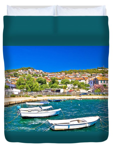 City Of Sibenik Colorful Coast Duvet Cover by Brch Photography