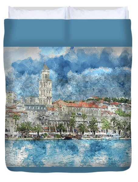 City Of Split In Croatia With Birds Flying In The Sky Duvet Cover