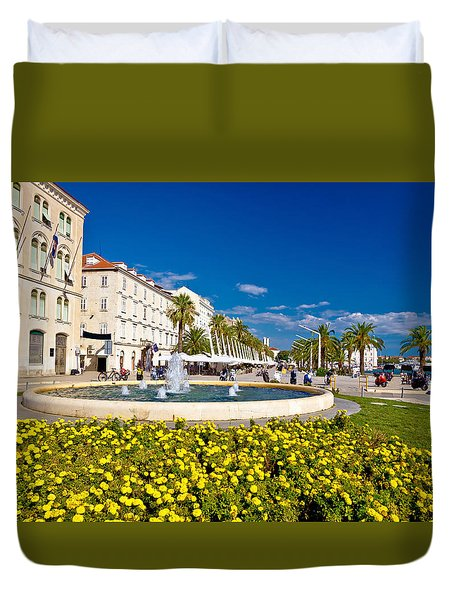 City Of Split Riva Fountain And Waterfront Duvet Cover by Brch Photography