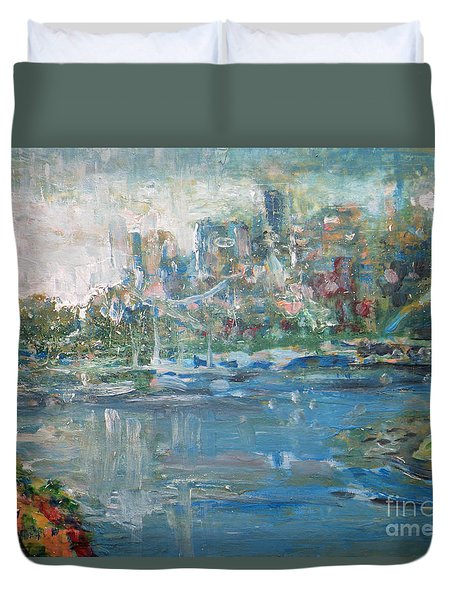Duvet Cover featuring the painting City On The Bay by John Fish