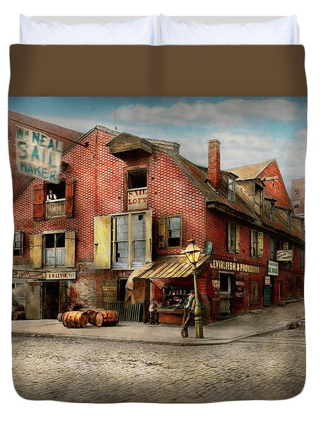 Duvet Cover featuring the photograph City - Pa - Fish And Provisions 1898 by Mike Savad