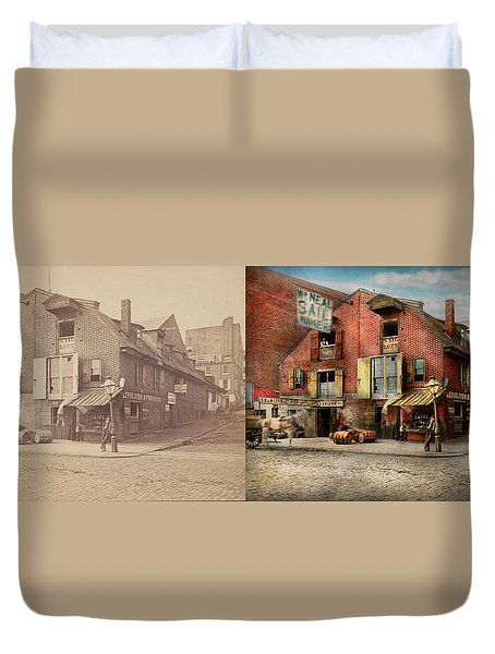 Duvet Cover featuring the photograph City - Pa - Fish And Provisions 1898 - Side By Side by Mike Savad