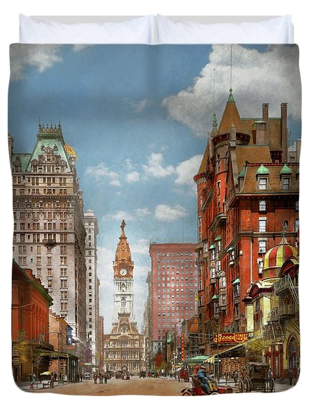 Duvet Cover featuring the photograph City - Pa Philadelphia - Broad Street 1905 by Mike Savad