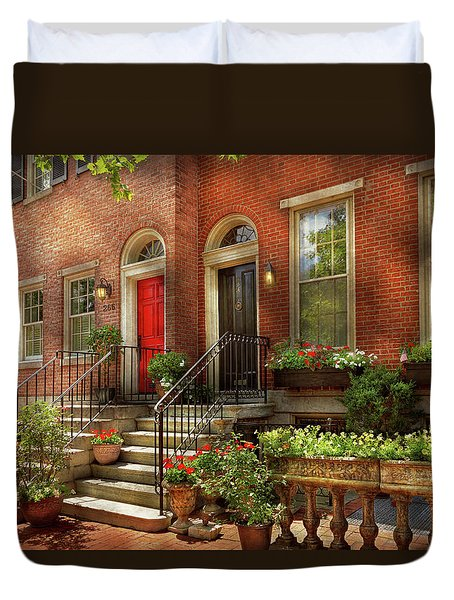 Duvet Cover featuring the photograph City - Pa Philadelphia - Pretty Philadelphia by Mike Savad