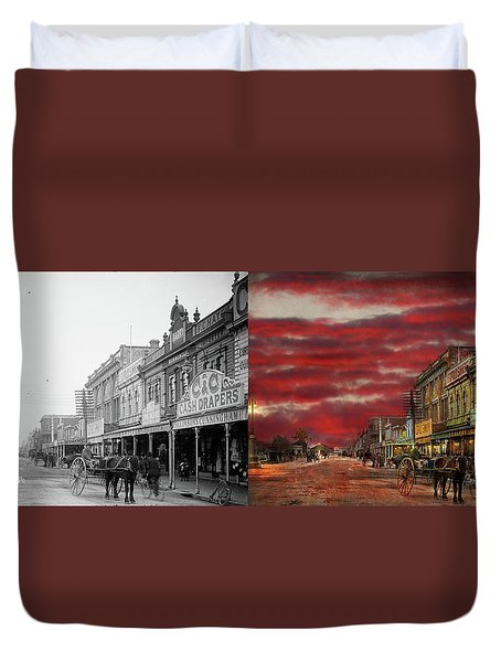 Duvet Cover featuring the photograph City - Palmerston North Nz - The Shopping District 1908 - Side By Side by Mike Savad