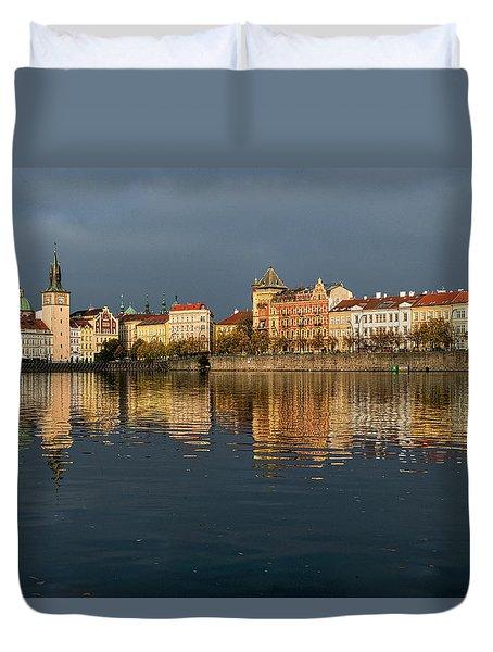 Duvet Cover featuring the photograph City River Reflections - Prague by Stuart Litoff