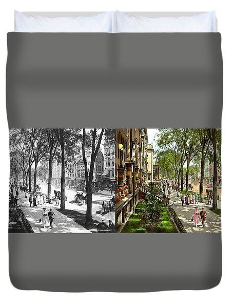 Duvet Cover featuring the photograph City - Saratoga Ny -  I Would Love To Be On Broadway 1915 - Side By Side by Mike Savad