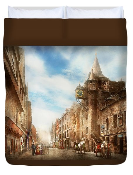 Duvet Cover featuring the photograph City - Scotland - Tolbooth Operator 1865 by Mike Savad