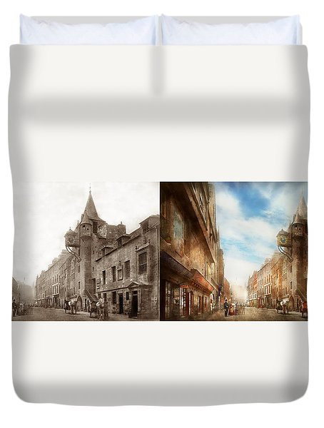 Duvet Cover featuring the photograph City - Scotland - Tolbooth Operator 1865 - Side By Side by Mike Savad