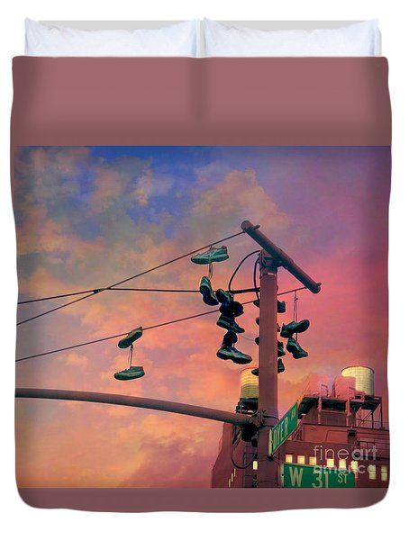 City Shoe Flinging Duvet Cover