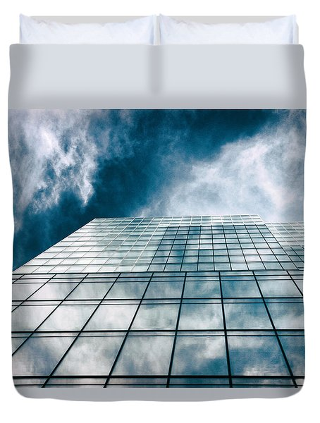 Duvet Cover featuring the photograph City Sky Light by Jessica Jenney