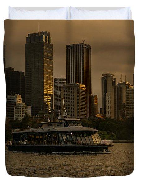 Duvet Cover featuring the photograph City Skyline  by Andrew Matwijec