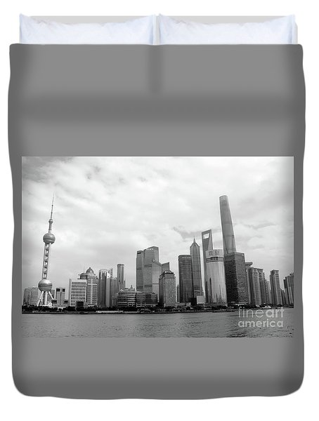 Duvet Cover featuring the photograph City Skyline by MGL Meiklejohn Graphics Licensing
