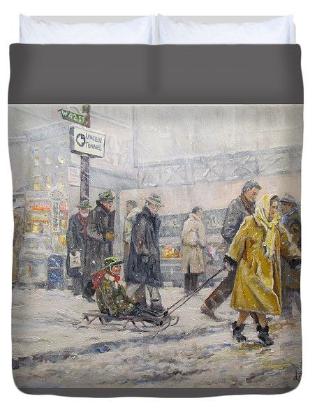 Duvet Cover featuring the painting City Snow Ride by Donna Tucker