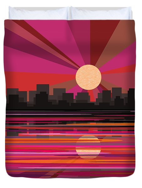 City Sun Rise - Pink Duvet Cover
