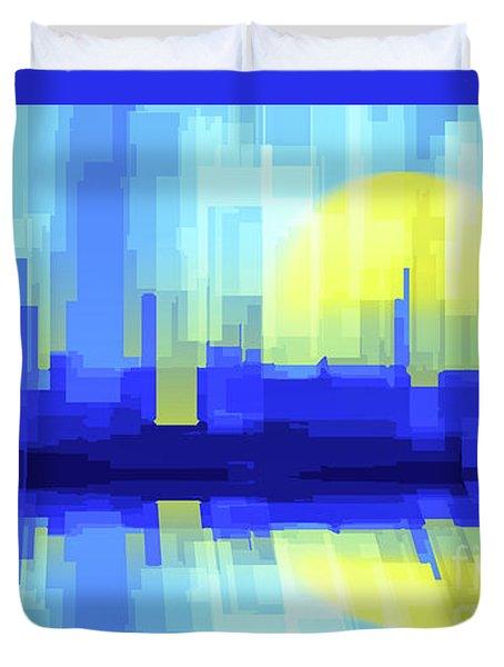 City Sun Silhouette Duvet Cover