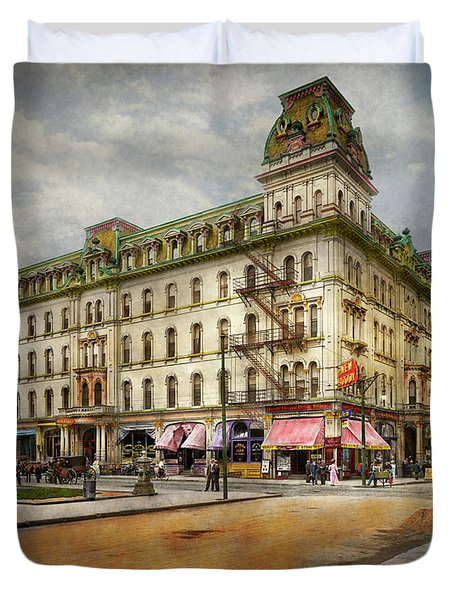 Duvet Cover featuring the photograph City - Toledo Oh - Got A Boody Call 1910 by Mike Savad