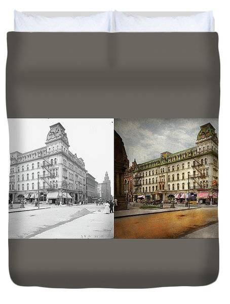 Duvet Cover featuring the photograph City - Toledo Oh - Got A Boody Call 1910 - Side By Side by Mike Savad