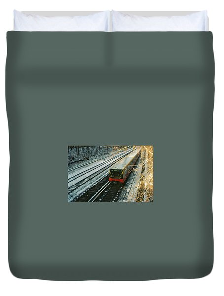 City Train In Berlin Under The Snow Duvet Cover