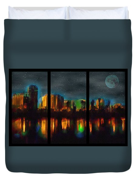City Under A Blue Moon Duvet Cover