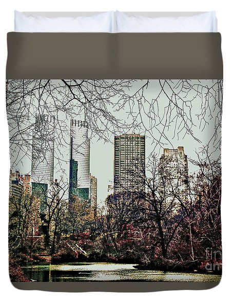 City View From Park Duvet Cover by Sandy Moulder