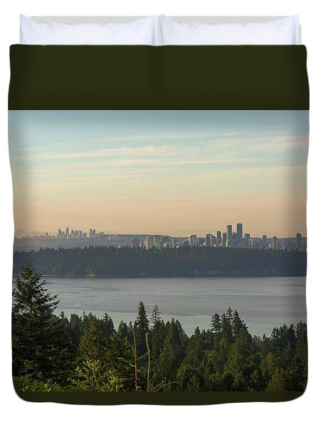 City View Of Vancouver And Burnaby Bc Duvet Cover by David Gn