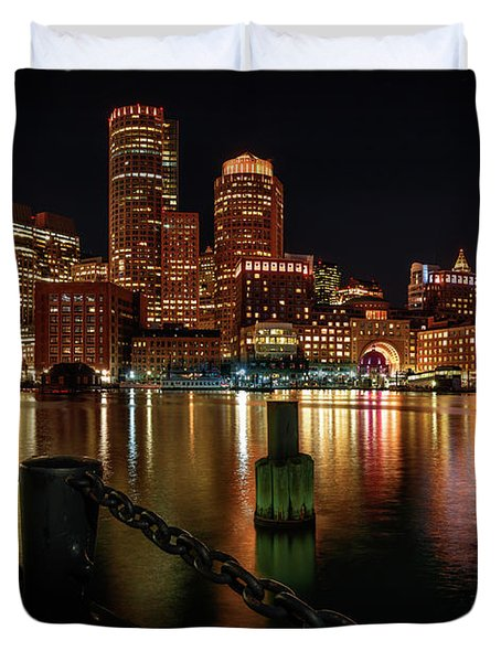City With A Soul- Boston Harbor Duvet Cover