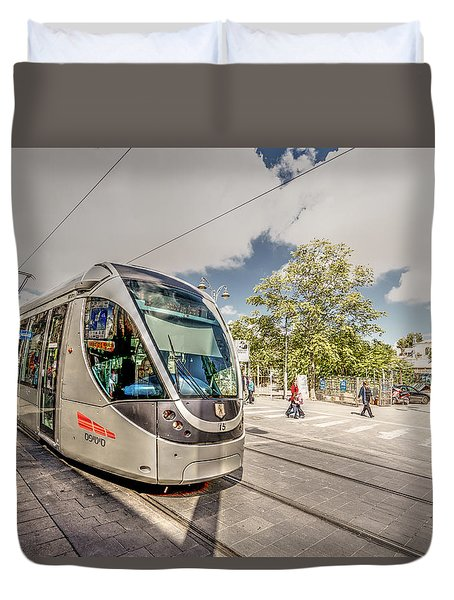 Duvet Cover featuring the photograph Citypass by Uri Baruch