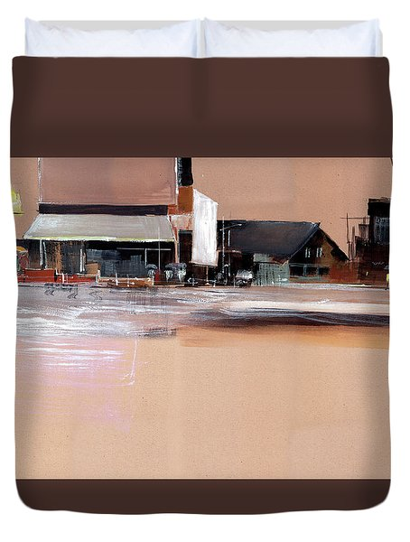 Duvet Cover featuring the painting Cityscape 3 by Anil Nene