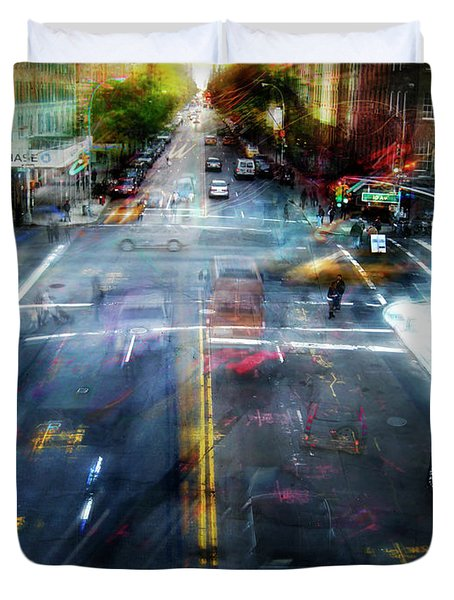 Duvet Cover featuring the photograph Cityscape 39 - Crossroads by Alfredo Gonzalez