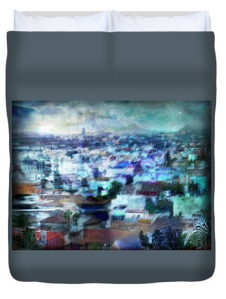 Duvet Cover featuring the photograph Cityscape #41 - Blue Whispers by Alfredo Gonzalez